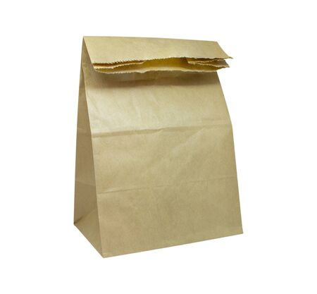 Paper bag isolated on white background, Brown craft paper bag packaging template isolated on white background. Packaging template mockup collection. With clipping Path included. Stand-up pouch Half side view package.