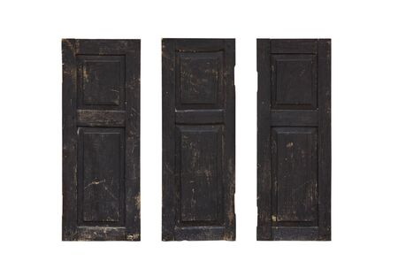 Three old wooden window on white background.