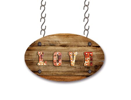 Wooden sign isolated on white background with clipping path. Love sign. Love word light bulbs on wooden background. sign for valentines day concept. Stock Photo