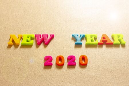 Happy New Year 2020. symbol from number 2020 on paper background.