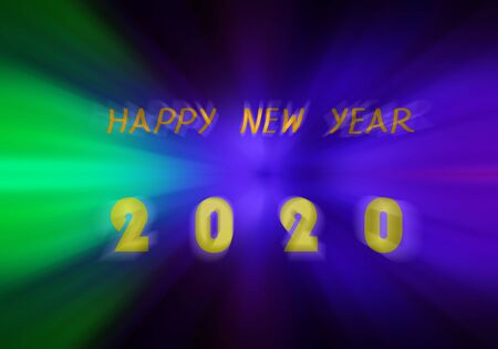 Happy New Year 2020 on abstract  light background. New year party.