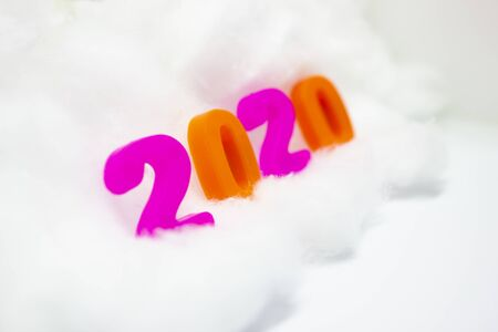 Happy New Year 2020. symbol from number 2020 on white background. Stock Photo