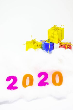 Happy New Year 2020. symbol from number 2020 and gift box on white background.