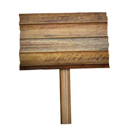 Panneau en bois isolé sur fond blanc avec un tracé de détourage. Banque d'images