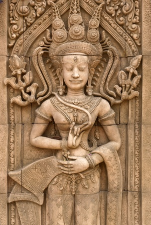 low relief: Thai art of low relief angel name Upsorn