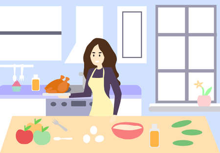 Girl shows how to cook chicken, vector graphics