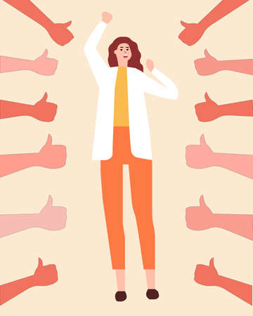 Girl is swayed to thumb up, a vector chart
