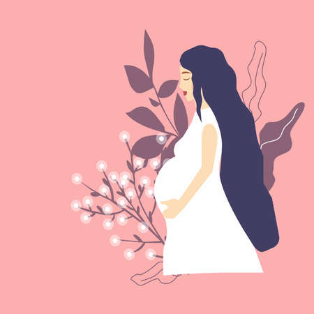 Pregnant girl holds belly next to flowers, a vector chart