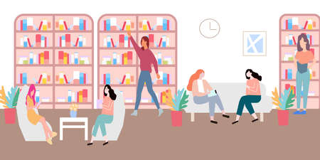 Library with people reading books, a vector graphics Stock fotó - 155011640