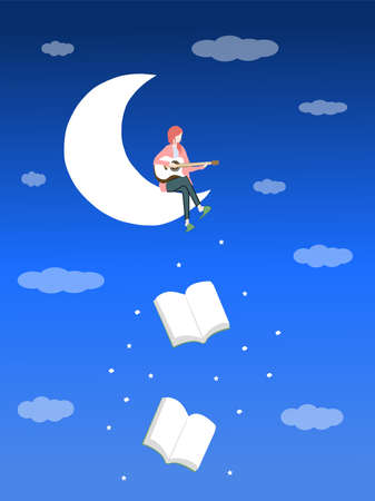 A girl sits on the moon and plays guitar, a vector graphics Stock fotó - 155011759