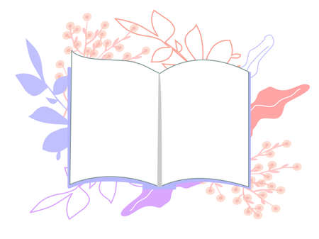 Open book with colorful leaves, a vector graphics Stock fotó - 155011772