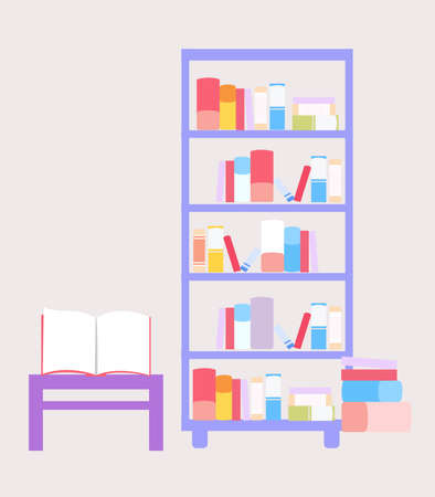 Bookcase and table with book, a vector graphics Stock fotó - 155012183