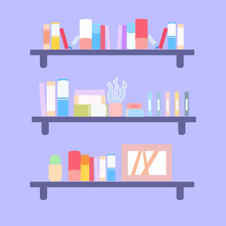 Three bookshelves with different books, a vector graphics Stock fotó - 155011395
