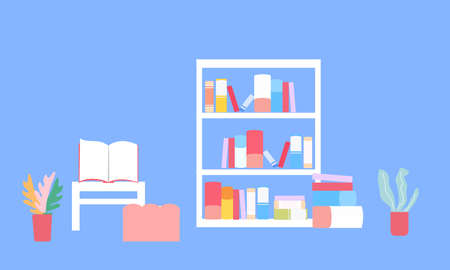 Table and bookcase on a blue background, a vector graphics Stock fotó - 155011710