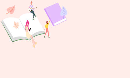 People sit on an open book, a vector graphics