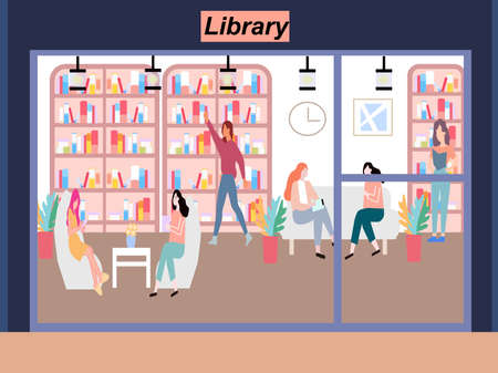 Library with people reading books, a vector graphics Stock fotó - 155011448