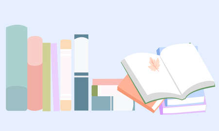 Books stand neatly and next to lies an open book, vector graphics Stock fotó - 155011824