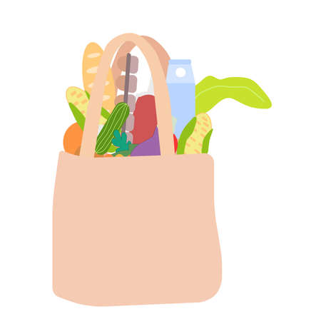 Cotton bag filled with vegetables and products, a vector graphics Ilustrace