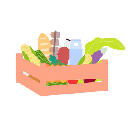 Wooden box filled with vegetables and food, a vector graphics Ilustrace