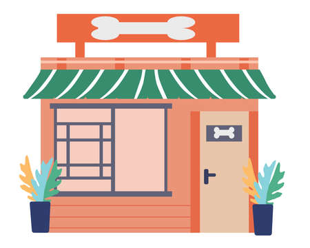 Open shop for animals, a vector graphics
