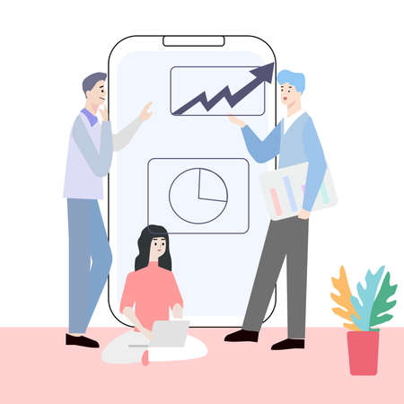 Employees discuss sales plan, a vector graphics