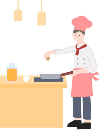 The chef prepares a dish, a vector graphics