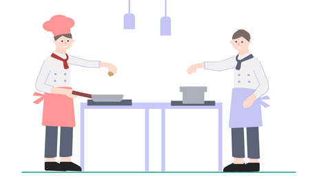 Two chefs prepare a dish in the kitchen, a vector graphics