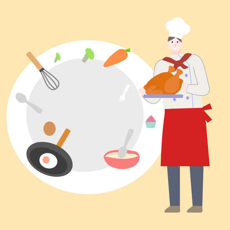 Chef holds chicken, on orange bacground, a vector graphics