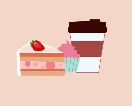 Sweet cake and a glass of coffee, a vector graphics