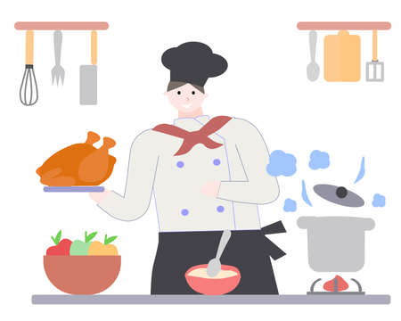 Chef holds chicken, on white bacground, a vector graphics Illusztráció