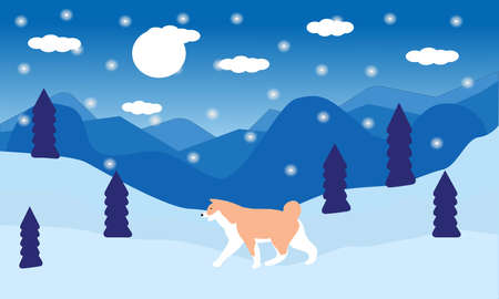 Winter forest, snowfall and dog, a vector chart