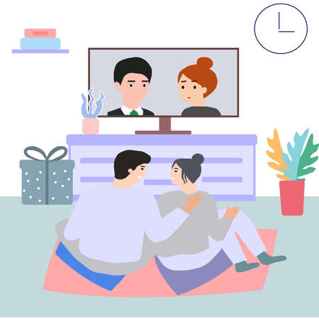 The couple together at home in the evening watching TV, a vector graphics Illusztráció