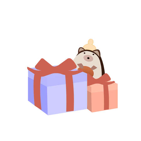 Gifts and soft toy on a white background, a vector graphics