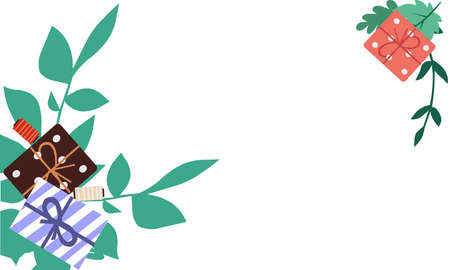 Gifts and green branches vector graphics