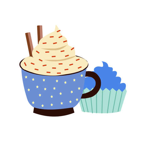 A cup of hot cocoa and a cupcake, a vector graphics