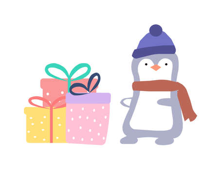 The penguin gives gifts, a vector graphics