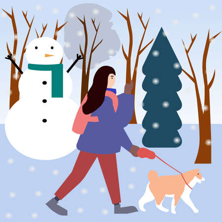 Girl walks with dog in park in winter, a vector chart Illusztráció
