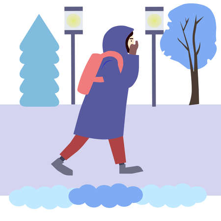 Girl goes to the park in winter, a vector chart