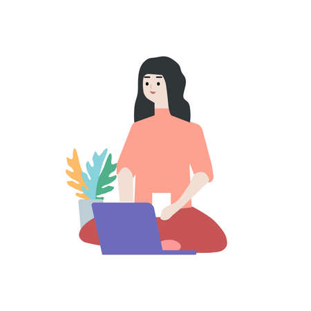 A girl sits in front of a laptop at home and drinks tea, a vector chart