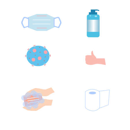 Disinfectant, hand washing and medical mask, vector graphiks