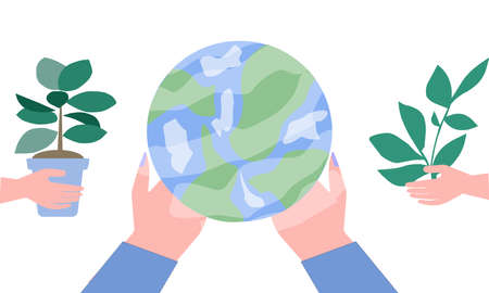 Globe in human hands, a vector graphics