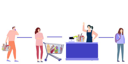 Keeping the distance in the supermarket, a vector chart