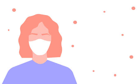 Young girl in a mask, a vector graphics