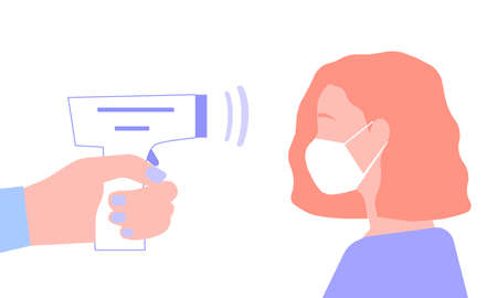 The girl in the mask measures the temperature, a vector graphics