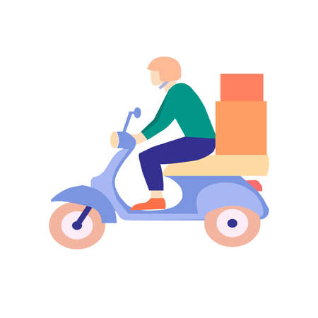 Courier delivers order on white background, a vector chart