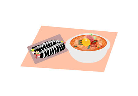 Kimbab rolls and delicious ramen, a vector graphics