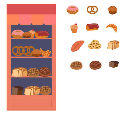 Showcase with flour products, a vector graphics