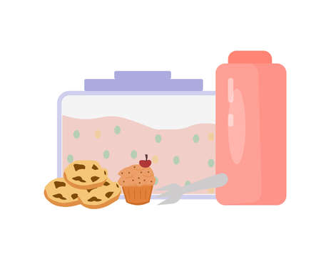 Lunch box, sweets and a bottle of water, a vector graphics Illusztráció