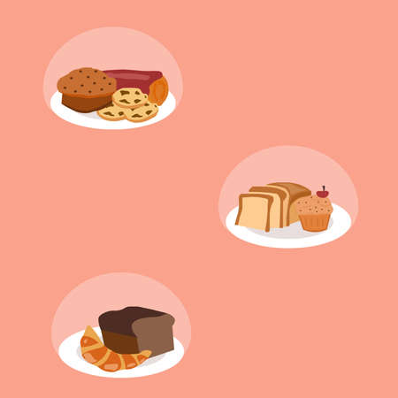 Confectionery and bread lie on a plate, a vector chart