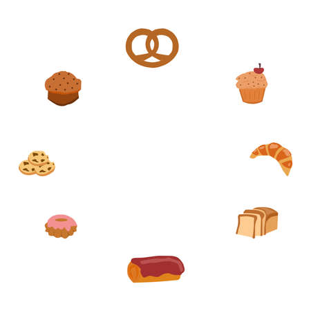 Flour products, buns, circle-shaped, a vector graphics
